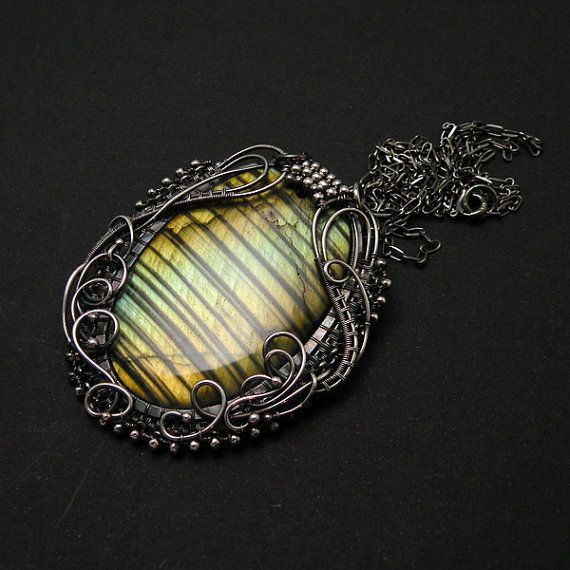 Silver wire wrapped pendant gold labradorite by MadeBySunflower,