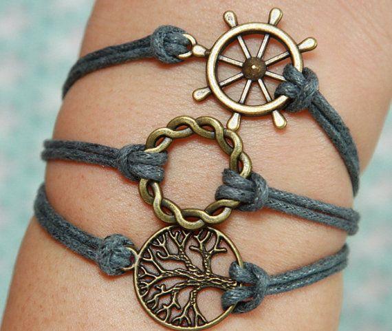 Wish Tree Bracelet -Bronze Bracelet, Rudder Bracelet, Ring Bracelet,  Grey Wax Leather Bracelet, Gifts for friends