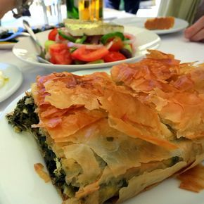 Amazing spinach pie in Athens, Greece! Click for more big, luscious photos of food from our Greek travels.