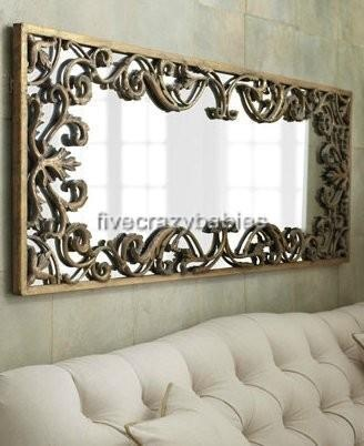 Ornate baroque full length gold scroll wall mirror extra for Long wide mirror