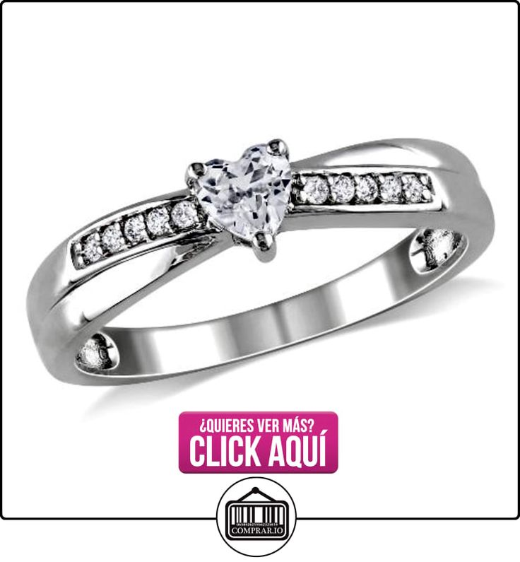 Anillo de moda con diamante TW 0.05 CT y zafiro creado blanco TGW 1/4 CT Plata GH I2;I3  ✿ Joyas para mujer - Las mejores ofertas ✿ ▬► Ver oferta: http://comprar.io/goto/B00BCQ3HDS