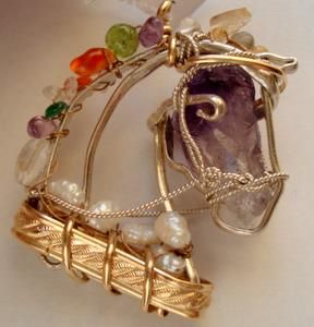 Gold-filled wire horse head with Amethyst, pearl , and semi-precious gems. Pendant. $150