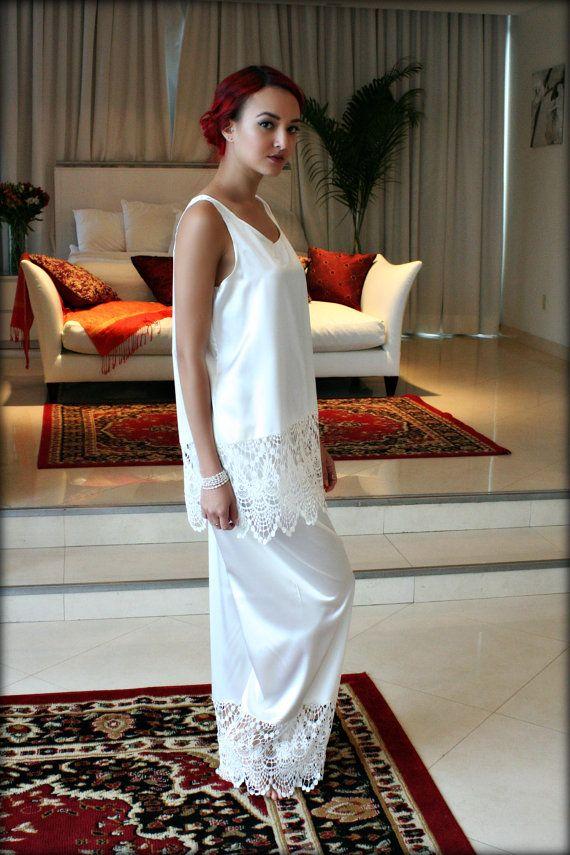 Isadora Satin and Lace Pajama Sleepwear Lingerie by SarafinaDreams