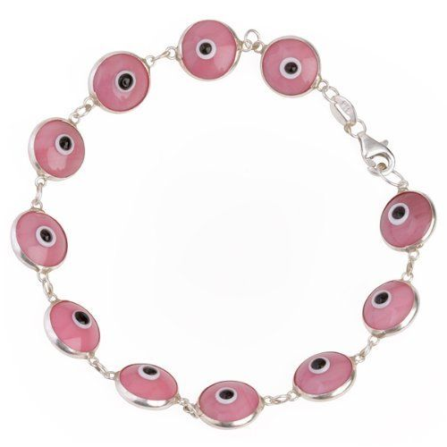 Evil Eye Bracelet Sterling Silver Murano Glass Classic Pink Lucky Charms USA. $14.50. Handmade Solid .925 Sterling Silver. Great and meaningful gift idea. Fast reliable shipping. For good luck and protection from the Evil Eye. Available in variety of colors
