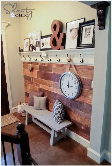 Mudroom ideas for small spaces. Like the shelf and hooks- maybe this will work in the laundry room?
