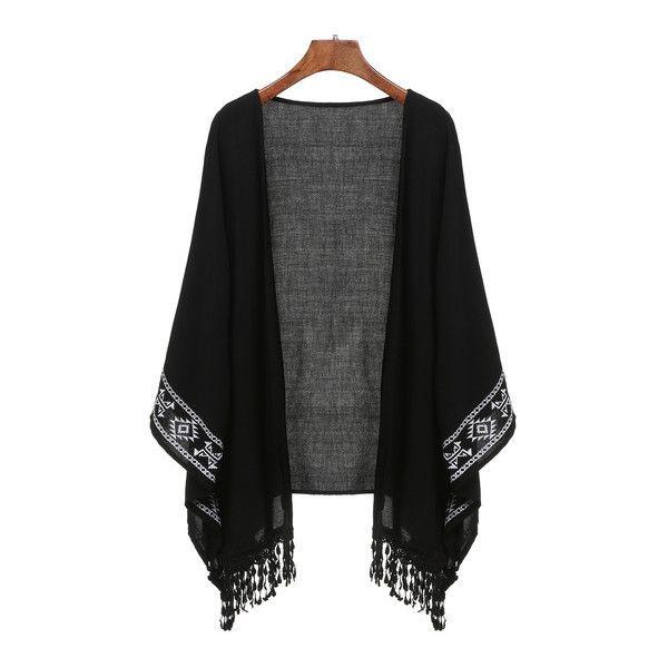 SheIn(sheinside) Black Aztec Print Fringe Kimono (£15) ❤ liked on Polyvore featuring intimates, robes, black, print kimono, kimono robe, patterned robes and fringe kimono