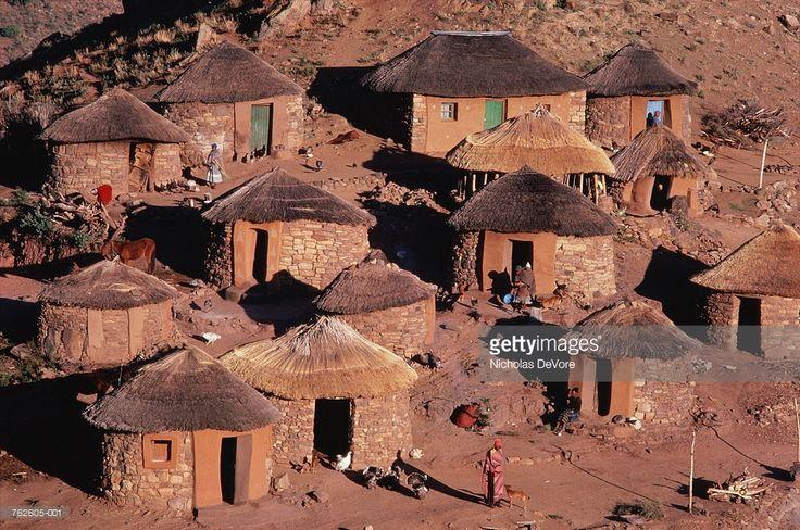 Stock Photo : Lesotho, Hamonaheng, Basotho hut village