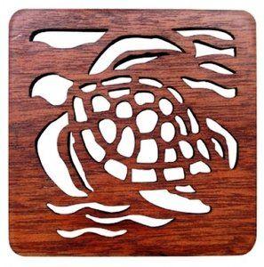 Amazon.com: Hawaiian Laser Cut Wood Trivets Honu Set of 2: Kitchen & Dining