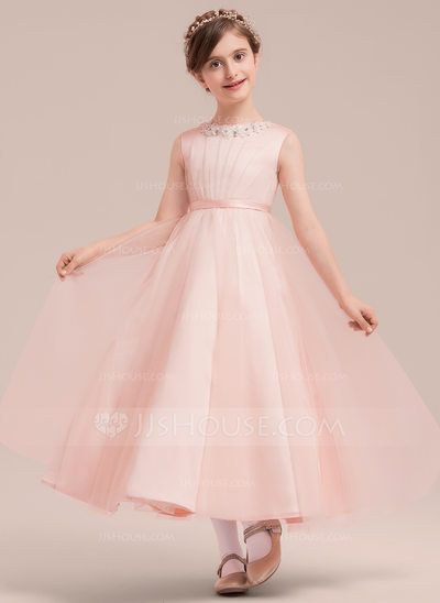c7f2c5bc47e A-Line Princess Scoop Neck Ankle-length Beading Bow(s) Satin Tulle  Sleeveless Flower Girl Dress Flower Girl Dress