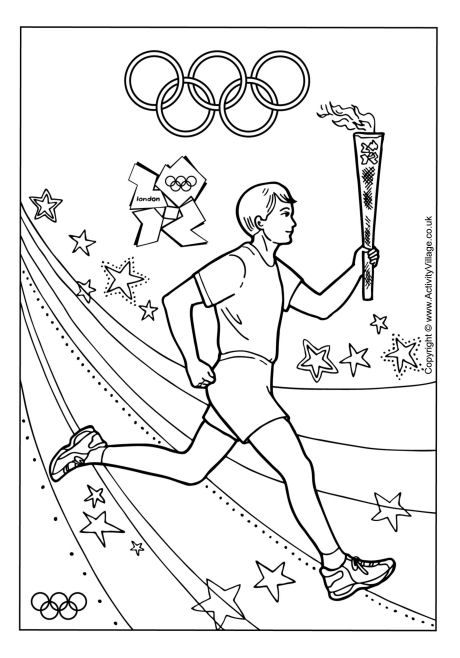 Torch bearer colouring page