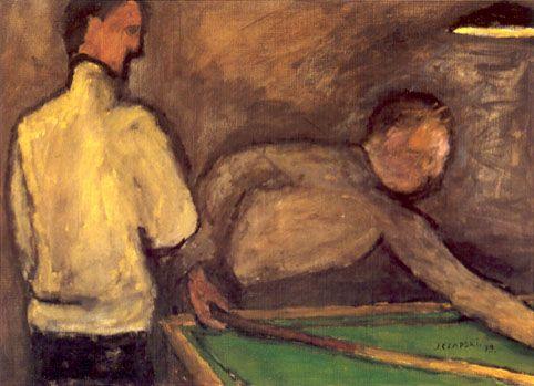 J. Czapski, Biliardo, 1979, olio su tela