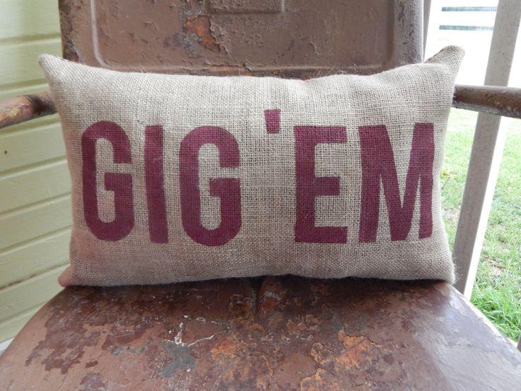 Gig 'em decorative throw pillow by TakeFlyteFarm on Etsy
