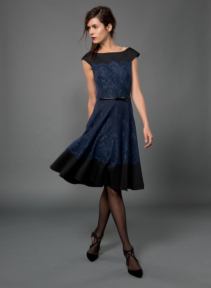neoprene cap sleeve a line dress with metallic lace