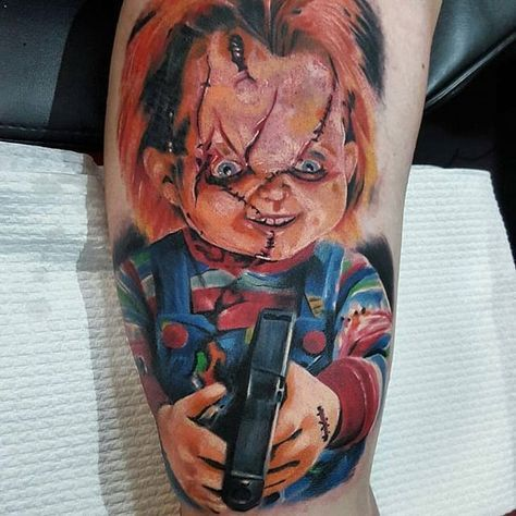 Painterly style Chucky tattoo by Pat Ronin. #Chucky #ChildsPlay #horror #doll #painterly #realism #colorrealism #PatRonin