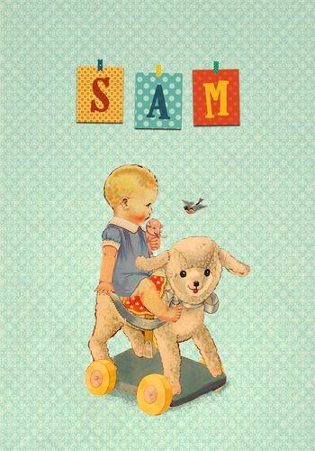 Geboortekaartje Sam - Pimpelpluis - https://www.facebook.com/pages/Pimpelpluis/188675421305550?ref=hl (# retro - jongen - speelgoed lammetje - vintage - paper doll - lief - schattig - origineel)