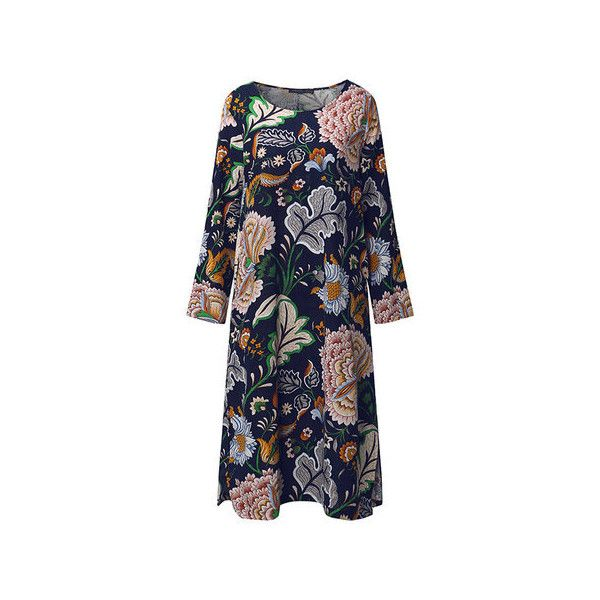 Chinese style floral printed long sleeve o neck dresses (1.315 RUB) ❤ liked on Polyvore featuring plus size women's fashion, plus size clothing, plus size dresses, navy, blue floral dress, long sleeve dress, long-sleeve floral dresses, navy blue long sleeve dress and flower print dress