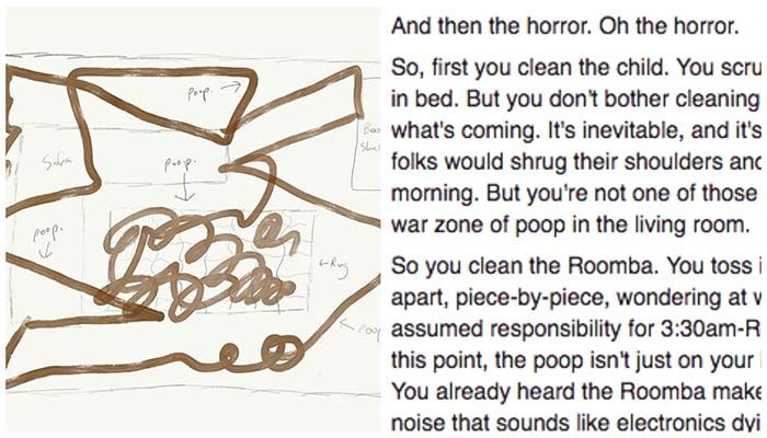 Roomba meets a pile of dog poop. Dad freaks. Epic story ensues.