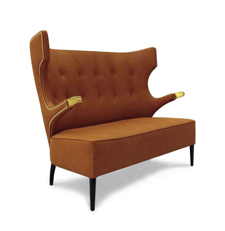SIKA sofa is an imposing furniture design piece that will add a special charisma and strength to your living room furniture set, making it memorable. | Modern Sofas. Living Room Furniture Set. #modernsofas #livingroomset #velvetsofa Discover more: https://www.brabbu.com/en/upholstery/sika-2-seat-sofa/