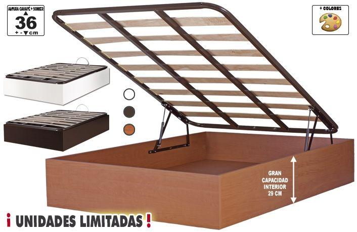 Canape abatible 150x190 con somier de láminas en 4 colores