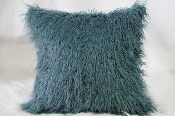 Chey Teal Faux Fur Cushion - Pin for Inspo!