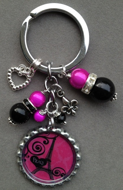 PARIS bottle cap keychain hot pink and black by KeyChainBling, $16.00