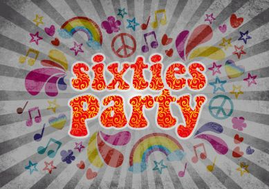 Coole und witzige Einladungskarte zum Geburtstag in 60er Jahre Stil für die Sixties Motto Party