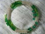 Green Crystal Silver Twirls Bracelet
