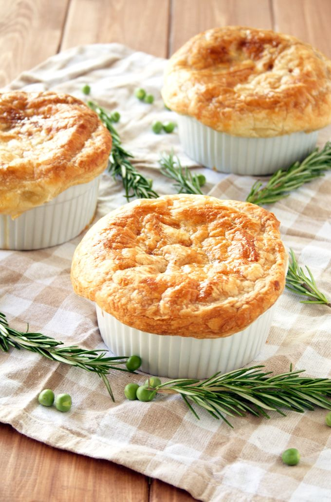 Mini Chicken Pot Pies with Puff Pastry Crust|A Happy Food Dance