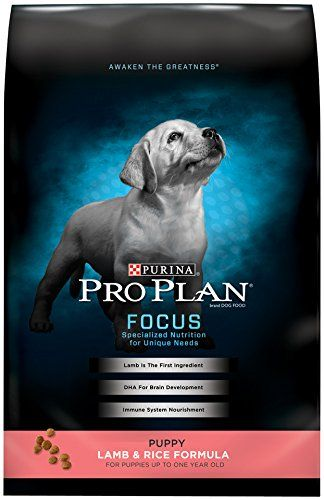 Purina Pro Plan FOCUS Puppy Lamb & Rice Formula Dry Dog Food - (1) 34 lb. Bag - Cater to your puppy's needs with Purina Pro Plan FOCUS Lamb & Rice Formula dry puppy food. Real lamb as the first ingredient helps provide protein, one of the essential building blocks your puppy's body needs, and DHA from fish oil helps to nourish his brain and vision development. Each high-qual...