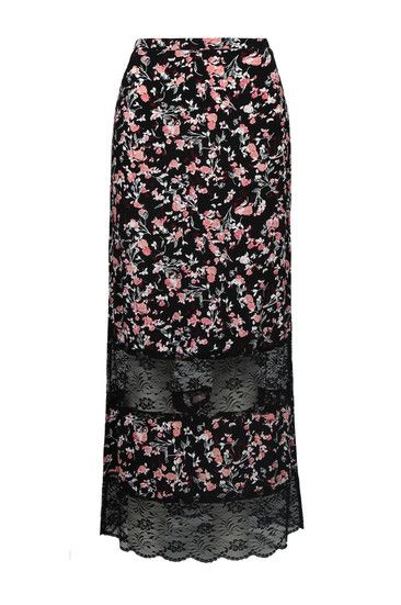 Black Floral Print Maxi Skirt with Lace
