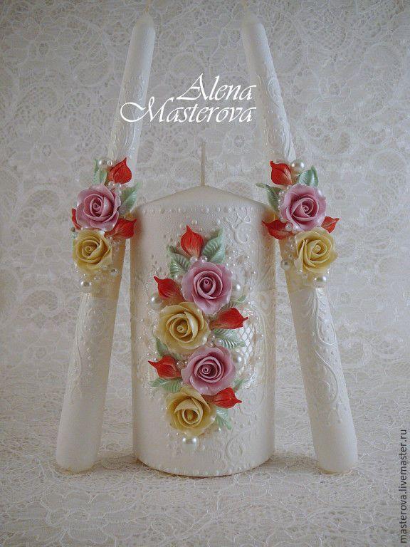 Купить Свадебные свечи - кремовый, свечи семейный очаг, свадебные аксессуары, свадебные свечи
