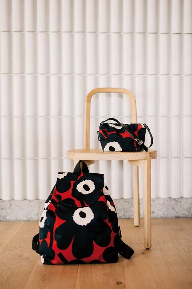 Woodnotes Siro+ oak chair together with Marimekko Unikko bags.  https://www.facebook.com/marimekkodesignhouse/photos/a.10157331573060455.1073741966.113000750454/10157…