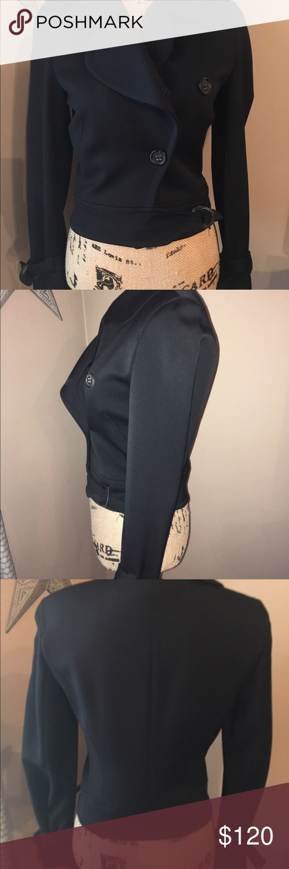 """Rene Lezard Black Jacket Coat NWOT'S This is a beautiful designer jacket by Rene Lezard.  It's a size European 34, so it's about a size 2, and the measurements are: Armpit to armpit is 17"""", sleeves are 25"""", and length is 19.5.  It is 96% wool, and 4% spandex.  It has buttons and straps at the end of the sleeves for added detail.  I bought this and it was too small and has never been worn, but the tags were removed.  Nice designer jacket. Rene Lezard Jackets & Coats"""