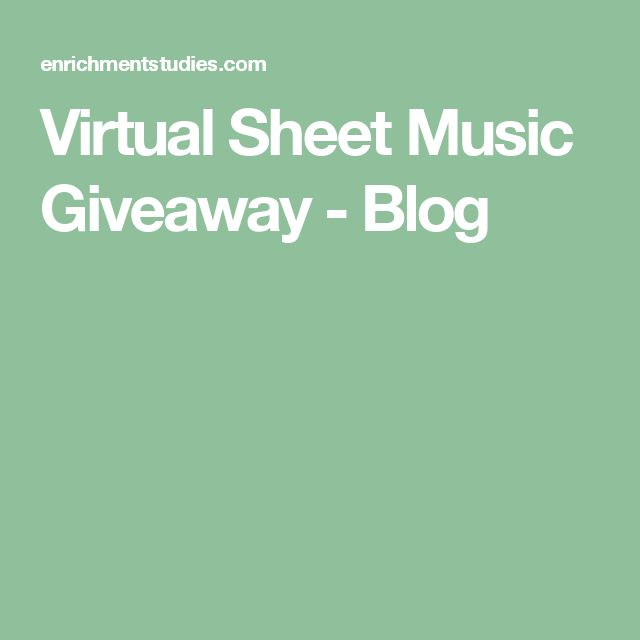 Virtual Sheet Music Giveaway - Blog
