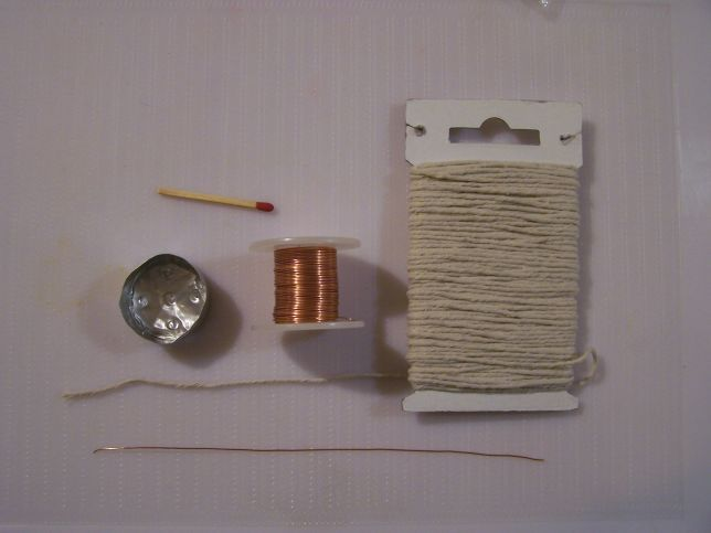 Making your own wick. Use all-cotton kitchen string. Don't use a blend. Cotton burns cleanly, while synthetics do not. This string is a little thinner than the matchstick. Use an all-cotton string for the candle wick. Synthetic fibers will not burn cleanly. I am using a kitchen string that is used to truss poultry and tie up roasts.