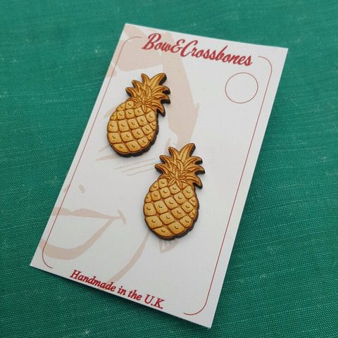 Pineapple stud earrings - Wood, , Earrings, Bow & Crossbones , Bow & Crossbones   - 1
