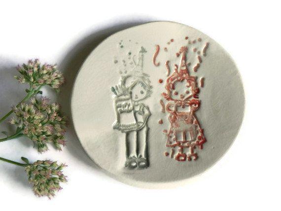 Felice compleanno ceramica piatto Eco amichevole ceramica piccolo rotondo piatto ragazzo e ragazza onTop