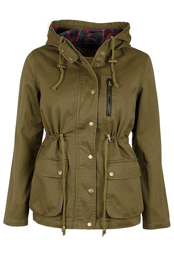 Womens Short parka Borg Fur coats jacket Ladies canvas winter coat 8 10 12 14