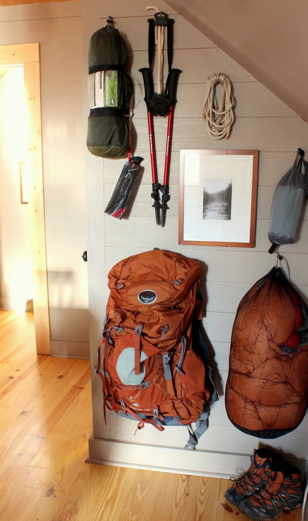 camping gear hung on wall