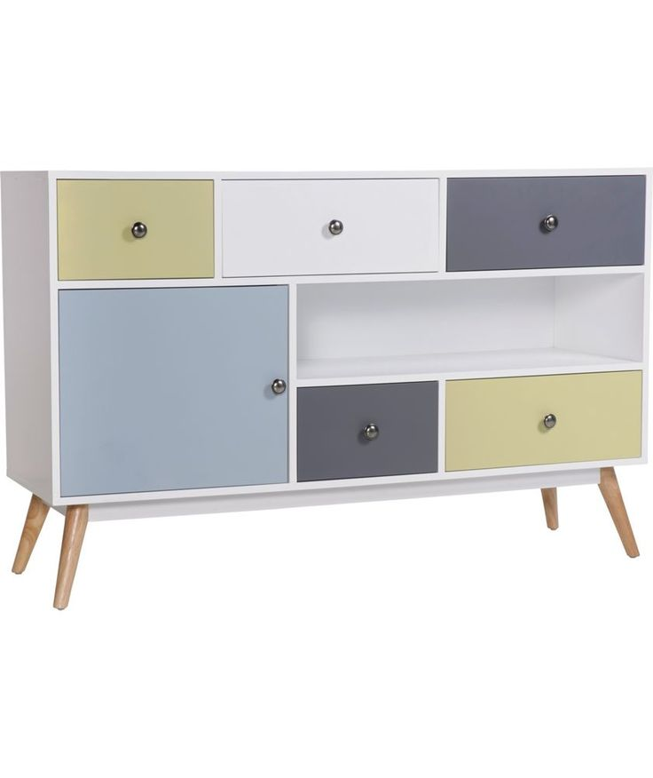 Buy Hygena Retro 1 Door 5 Drawer Sideboard - Multicoloured at Argos.co.uk - Your Online Shop for Sideboards and chest of drawers.