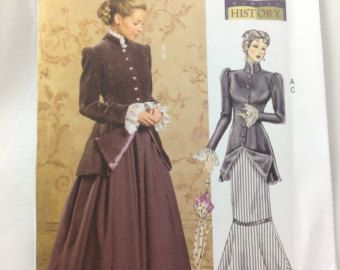 Butterick 4954, Misses' Historical Costume, sz  8-14 Steampunk Neo Victorian Historical Pattern Coat 2 Skirts Uncut