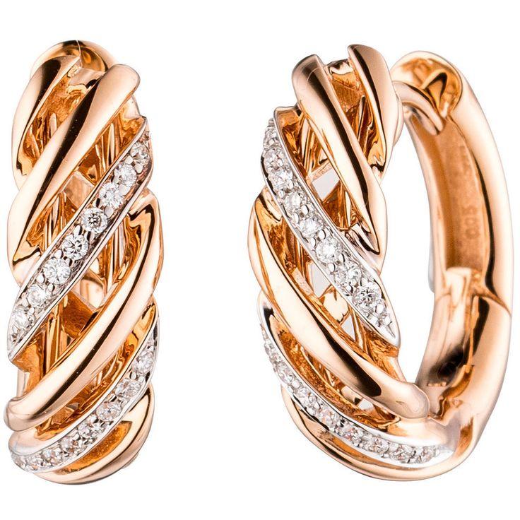 NEU Diamanten Creolen Ohrringe 14 Karat Rosegold 585er 585 Diamant echt Gold
