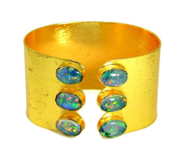 A Handmade Fire Opal Gemstone 925 Silver Plated Bracelet / Bangle DB015 #krishnagemsnjewels #Bangle