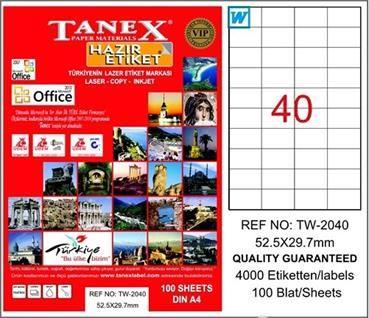 Tanex TW-2040 52,5x29,7 mm Laser Etiket 100 Adet