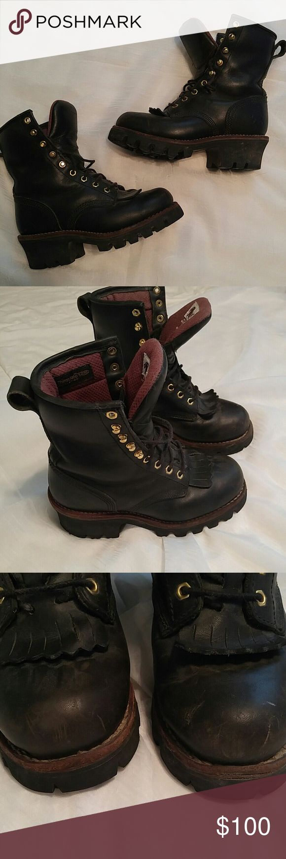 {Chippewa} Black Work Boots Gently used Chippewa work boots. Women's size 7. Picture 3 shows scuffs on toes. Boots are originally $170 new. Chippewa Shoes Lace Up Boots