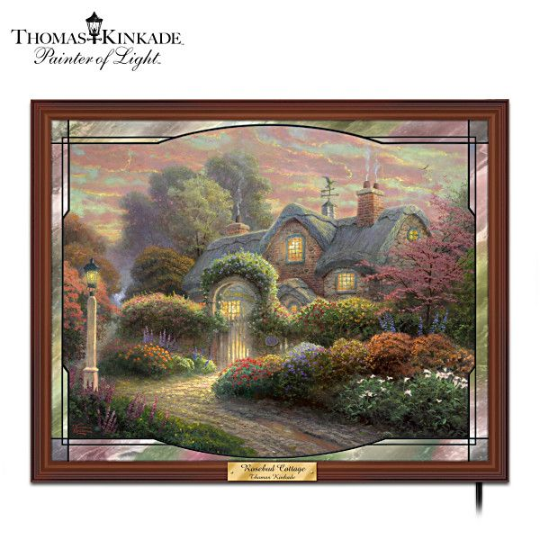 Thomas kinkade rosebud cottage stained glass wall decor critters and things pinterest for Home interiors thomas kinkade prints