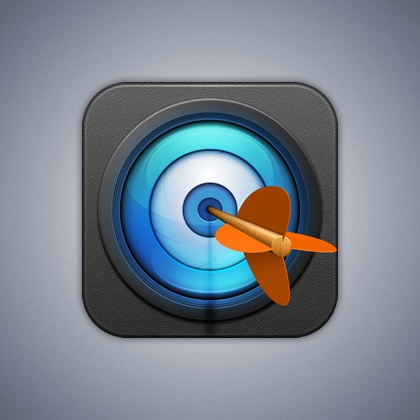 This feels like an archery app. It has good and bad qualities. The colors for me could be switched; when I think of a target i think of red and white the most iconic colors, and the arrow feathers could have been blue instead of orange so that it would still pop. The blue color in the circle feels more like a camera and technology more than a target.
