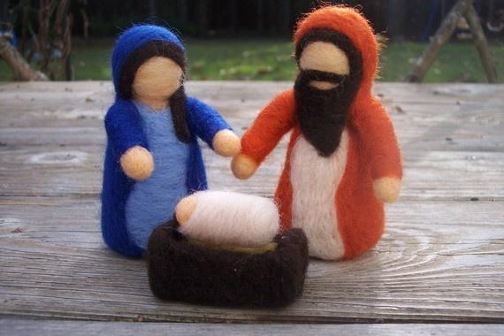 Nativity Scene Wool Felted Holy Family