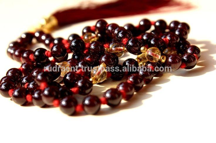 Long Mala Necklace, Garnet & Citrine 6 mm AAA Gemstone Beads, Tassel Yoga Mala Beads Necklace