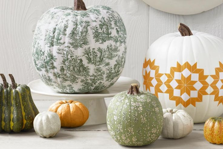 The decoupaged pumpkin. | 37 Easy DIY No-Carve Pumpkin Ideas